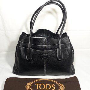 TOD'S 2005 D-Bag Black Pebbled Leather Media Tote